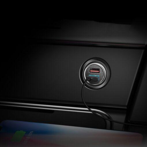 Baseus Circular Unisersaalne autolaadija USB adapter must 8