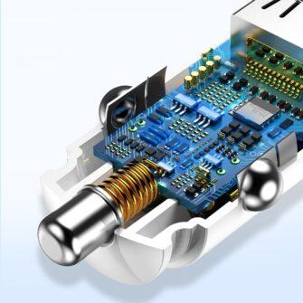 Baseus Circular Unisersaalne autolaadija USB adapter must 9