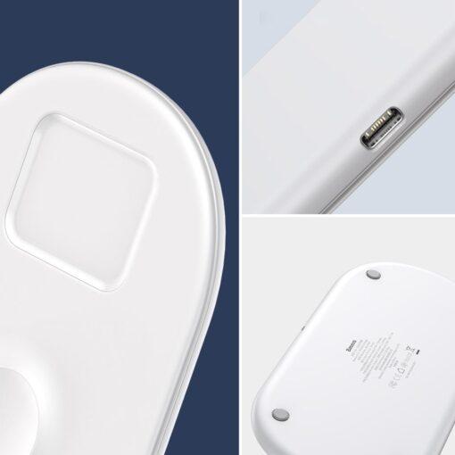 Baseus juhtmevaba laadija 3in1 Qi iphone apple watch ja airpodsidele valge 15