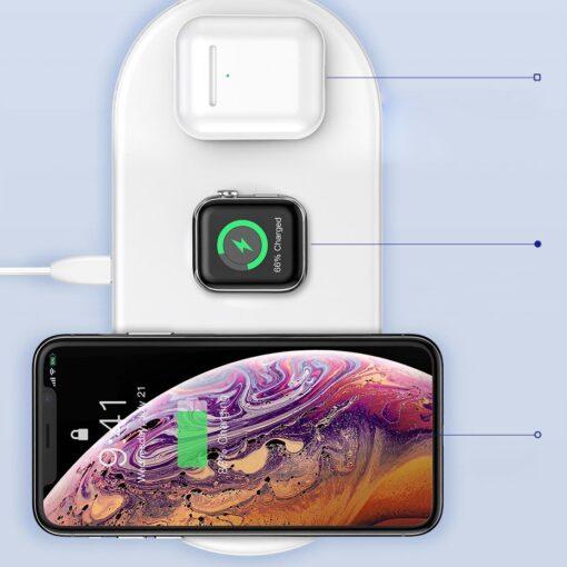 Baseus juhtmevaba laadija 3in1 Qi iphone apple watch ja airpodsidele valge 8