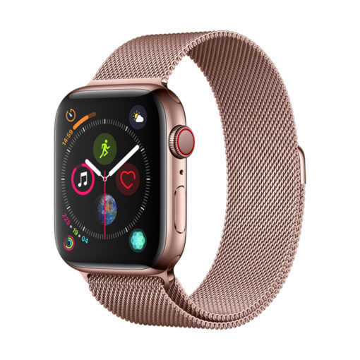 Devia rihm Elegant Milanese Apple Watchile 44mm 42mm roosa kuld 1