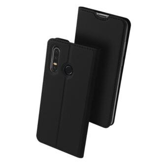 Huawei P30 Lite kunstnahast kaaned koos kaarditaskuga musta värvi DUX DUCIS 1