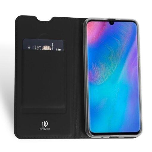Huawei P30 Lite kunstnahast kaaned koos kaarditaskuga musta värvi DUX DUCIS 2
