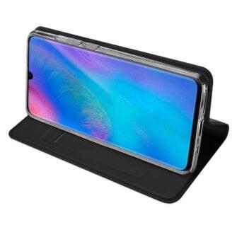 Huawei P30 Lite kunstnahast kaaned koos kaarditaskuga musta värvi DUX DUCIS 4