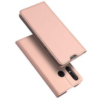 Huawei P30 Lite kunstnahast kaaned koos kaarditaskuga roosa värvi DUX DUCIS 1