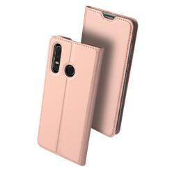 Huawei P30 Lite kunstnahast kaaned koos kaarditaskuga roosa värvi DUX DUCIS