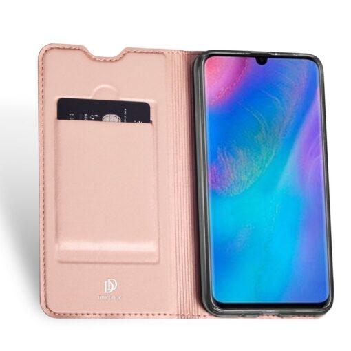 Huawei P30 Lite kunstnahast kaaned koos kaarditaskuga roosa värvi DUX DUCIS 3