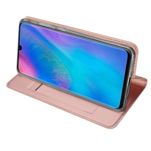 Huawei P30 Lite kunstnahast kaaned koos kaarditaskuga roosa värvi DUX DUCIS 5