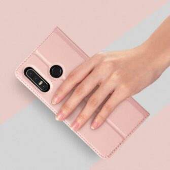Huawei P30 Lite kunstnahast kaaned koos kaarditaskuga roosa värvi DUX DUCIS 6