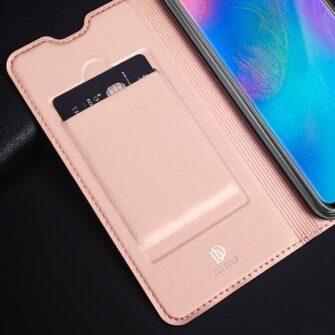Huawei P30 Lite kunstnahast kaaned koos kaarditaskuga roosa värvi DUX DUCIS 7