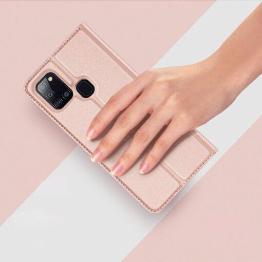 Samsung A21S kaaned roosat värvi kaarditaskuga dux ducis 13
