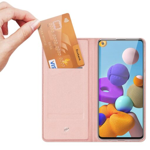 Samsung A21S kaaned roosat värvi kaarditaskuga dux ducis 16