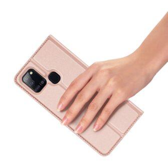 Samsung A21S kaaned roosat värvi kaarditaskuga dux ducis 21