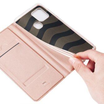 Samsung A21S kaaned roosat värvi kaarditaskuga dux ducis 22