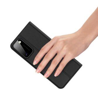 Samsung A41 kaarditaskuga kaaned musta värvi kunstnahast DUX DUCIS 7