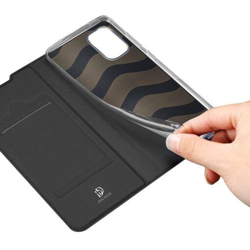 Samsung A41 kaarditaskuga kaaned musta värvi kunstnahast DUX DUCIS 8