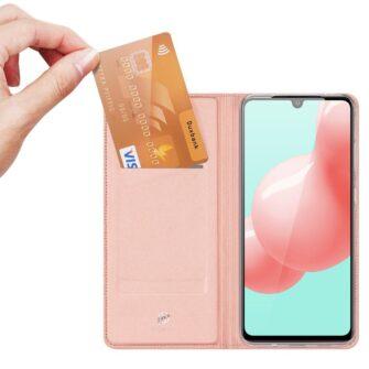 Samsung A41 kaarditaskuga kaaned roosat värvi kunstnahast DUX DUCIS 2