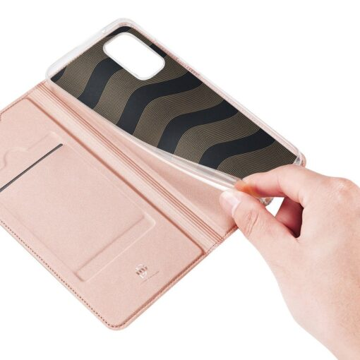 Samsung A41 kaarditaskuga kaaned roosat värvi kunstnahast DUX DUCIS 7