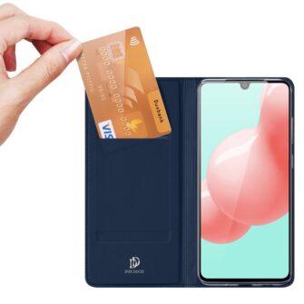 Samsung A41 kaarditaskuga kaaned sinist värvi kunstnahast DUX DUCIS 2