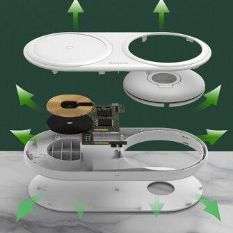Baseus Planet 3in1 10W juhtmevaba Qi laadija Telefon AirPods Apple Watch seinadapter must 20