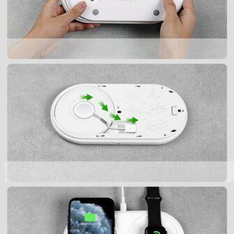Baseus Planet 3in1 10W juhtmevaba Qi laadija Telefon AirPods Apple Watch seinadapter must 21