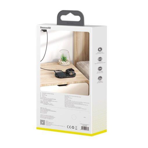 Baseus Planet 3in1 10W juhtmevaba Qi laadija Telefon AirPods Apple Watch seinadapter must 7