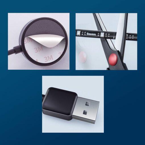 Baseus värviline kleebitav SMD LED riba 1.5m USB 19