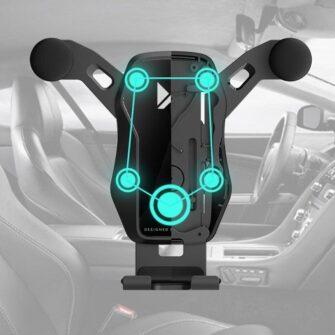 Gravitatsiooniga horisontaalne ja vertikaalne telefonihoidik autole 9