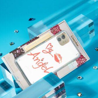 Kingxbar Angel mirror case decorated with original Swarovski crystals iPhone 11 transparent 16
