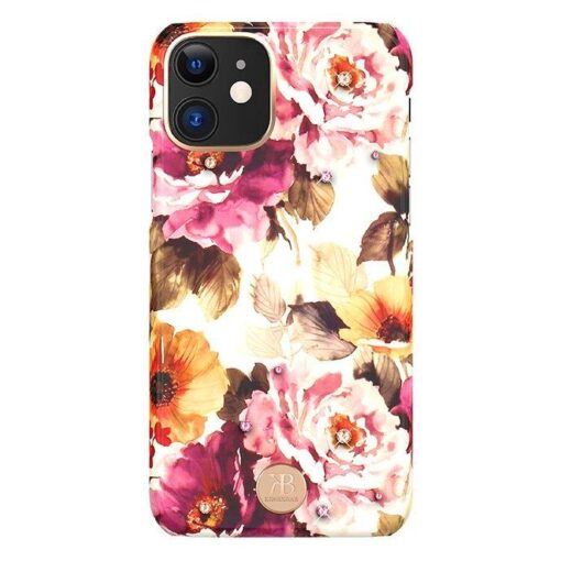 Kingxbar Blossom case decorated with original Swarovski crystals iPhone 11 multicolour Peony