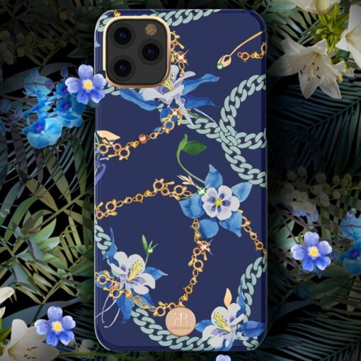 Kingxbar Luxury Series case decorated with original Swarovski crystals iPhone 11 blue 3