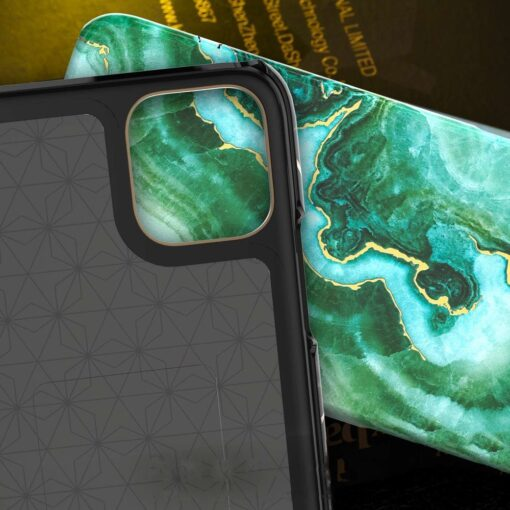 Kingxbar Marble Series case decorated printed marble iPhone 11 green 5