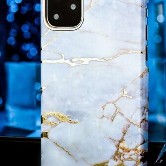 Kingxbar Marble Series case decorated printed marble iPhone 11 white blue 1