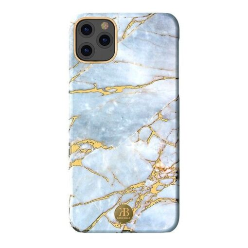 Kingxbar Marble Series case decorated printed marble iPhone 11 white blue