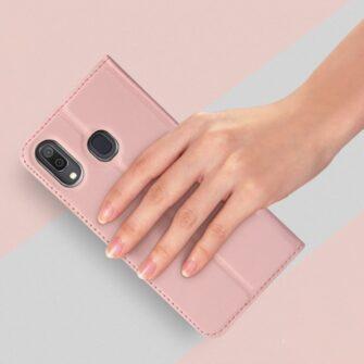 Samsung A20e kaaned DUX DUCIS Skin Pro Bookcase roosa 6