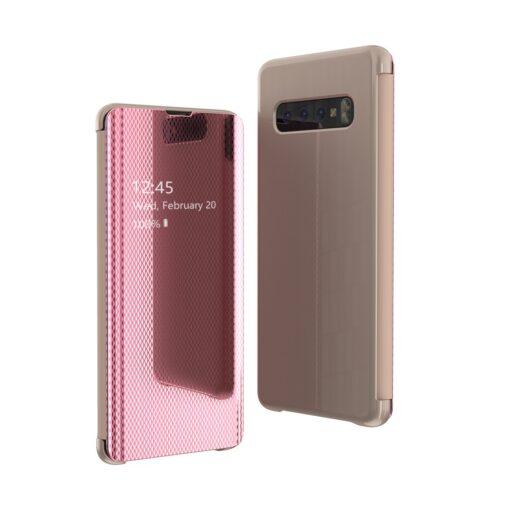 Samsung S10 kaaned Flip plastikust roosa