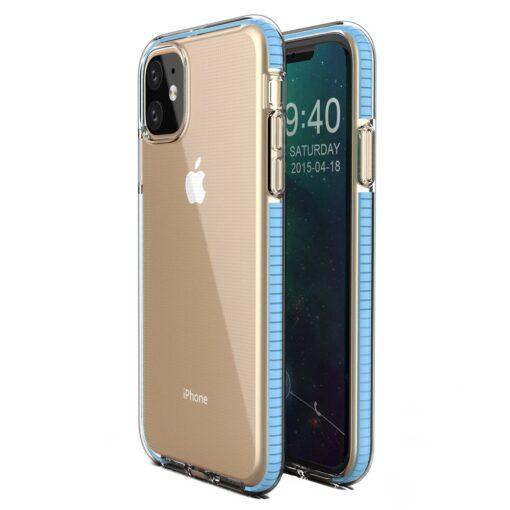 iPhone 11 läbipaistev silikoonist ümbris helesinise servaga
