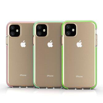 iPhone 11 läbipaistev silikoonist ümbris kollase servaga 3