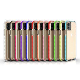 iPhone 11 läbipaistev silikoonist ümbris kollase servaga 5