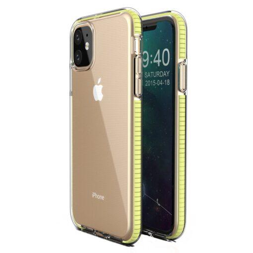 iPhone 11 läbipaistev silikoonist ümbris kollase servaga