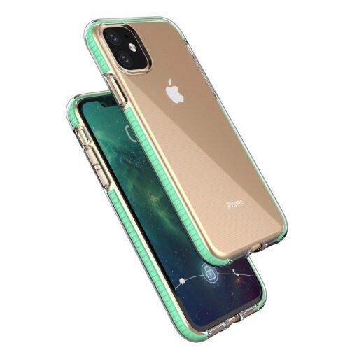 iPhone 11 läbipaistev silikoonist ümbris mündiroheline servaga 1