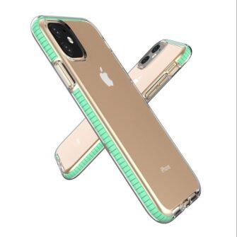 iPhone 11 läbipaistev silikoonist ümbris mündiroheline servaga 2