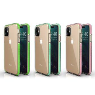 iPhone 11 läbipaistev silikoonist ümbris mündiroheline servaga 4