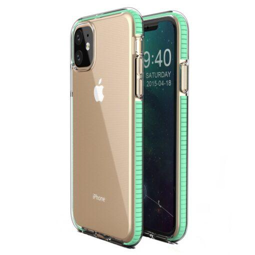 iPhone 11 läbipaistev silikoonist ümbris mündiroheline servaga