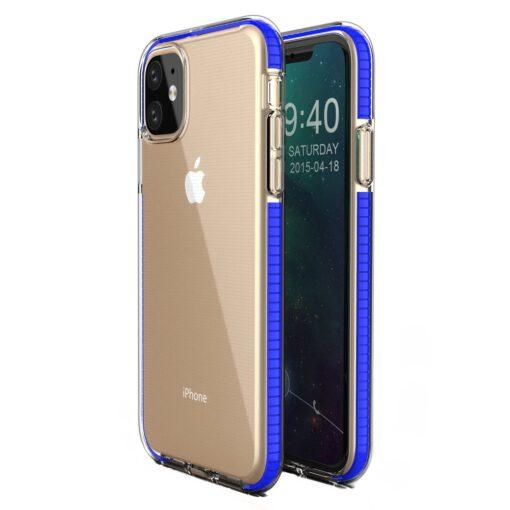 iPhone 11 läbipaistev silikoonist ümbris sinise servaga