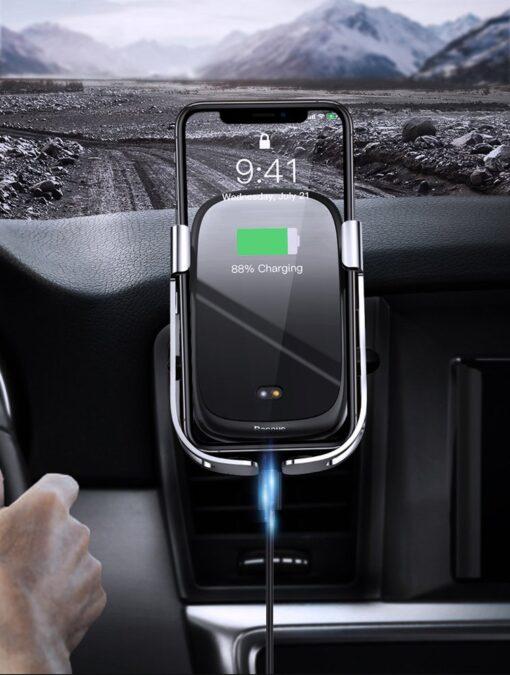Baseus Rock Smart autohoidik koos juhtmevaba Qi laadijaga ja infrapuna sensoriga hõbe WXHW01 0S 11
