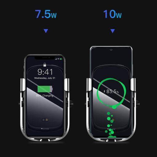 Baseus Rock Smart autohoidik koos juhtmevaba Qi laadijaga ja infrapuna sensoriga hõbe WXHW01 0S 12