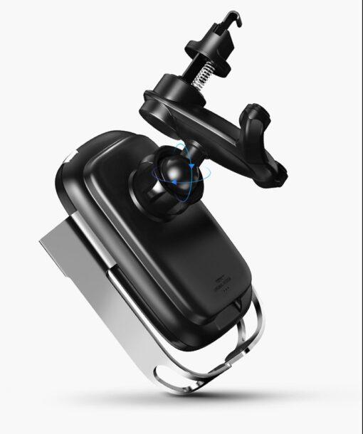Baseus Rock Smart autohoidik koos juhtmevaba Qi laadijaga ja infrapuna sensoriga hõbe WXHW01 0S 14