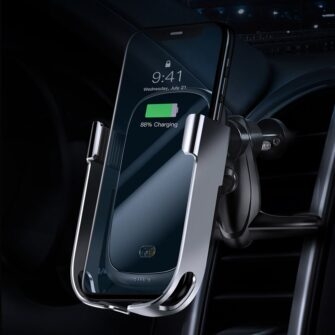 Baseus Rock Smart autohoidik koos juhtmevaba Qi laadijaga ja infrapuna sensoriga hõbe WXHW01 0S 6