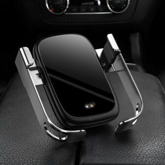 Baseus Rock Smart autohoidik koos juhtmevaba Qi laadijaga ja infrapuna sensoriga hõbe WXHW01 0S 7